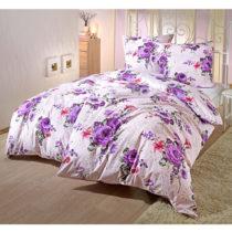 """Blancheporte Posteľná bielizeň na jednolôžko """"Kvety"""", fialová fialová 80x80cm a 135x200cm"""