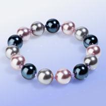 Blancheporte Náramok zo sklenených perál, sivá/fialová