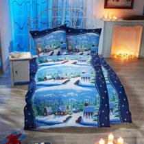 "Blancheporte Posteľná bielizeň na jednolôžko ""Zimná dedina"", modrá modrá 80x80cm a 135x200..."