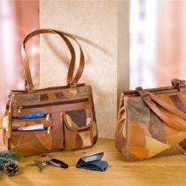 Blancheporte Kožená taška s patchworkom, koňaková koňaková