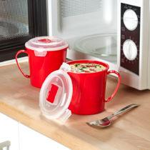 Blancheporte 2 hrnčeky na polievku do mikrovlnky, červená červená
