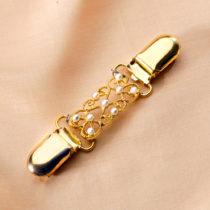 Blancheporte Ozdobná spona zlatistá s bielymi perličkami