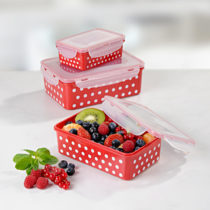 Blancheporte 6-dielna súprava dóz na uchovanie potravín, červená-biela červená-biela