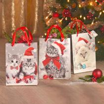 """Blancheporte 3 darčekové tašky """"Vianočné mačky"""""""