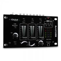 3/2-kanálový mixpult Ibiza DJ-21, USB, talkover, párty