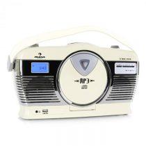 Auna RCD-70CR, retro rádio, FM, USB, CD, batéria, krémové
