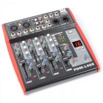 Power Dynamics PDM-L405, 4-kanálový mixážny pult, USB, AUX,