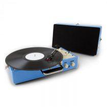 Auna Nostalgy Buckingham, kufríkový retro gramofón, reproduktor, AUX, modrý