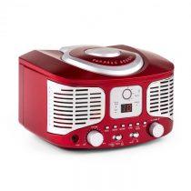 Auna RCD320, retro CD prehrávač, FM, AUX, červený