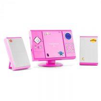 OneConcept V-12, stereosystém s MP3-CD-Prehrávačom USB SD AUX, ružový s nálepkami