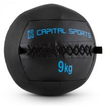 Capital Sports Wallba 9, 9kg, čierna, Wall Ball (medicinbal) z umelej kože