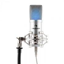 Auna MIC-900S-LED, strieborný, štúdiový USB kondenzátorový mikrofón, obličková ch., LED