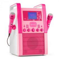 Auna KA8P-V2 PK, ružová, karaoke systém s CD prehrávačom, AUX, 2 mikrofóny