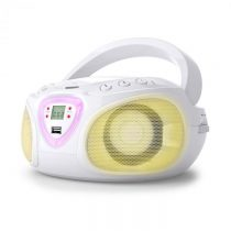 Auna Roadie, boombox, biely, CD, USB, MP3, FM/AM rádio, bluetooth 2.1, LED farebné efekty