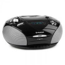 Auna RCD 220, čierny, boombox, CD, USB, kazetový magnetofón, PLL FM rádio, MP3, 2 x 2 W