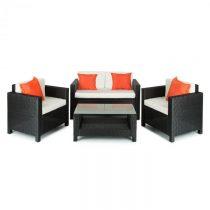 Blumfeldt Verona, set záhradného nábytku, 4 diely, polyratan, čierna/béžová/oranžová