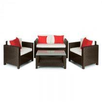 Blumfeldt Verona, set záhradného nábytku, 4 diely, polyratan, hnedá/béžová/ červená