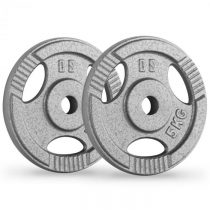 Capital Sports IP3H 5, šedé, závažie na činky, pár, 30 mm, 5 kg, otvory na uchopenie