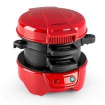 OneConcept Morning Glory, červený, 600 W, príprava toastov a mäsa do hamburgerov, nepriľnavý