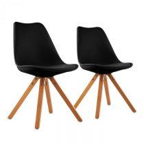 OneConcept Onassis, čierna, škrupinová stolička, sada 2 kusov, retro, čalúnená, brezové drevo