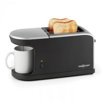OneConcept Quickie 2 v 1 , dvojštrbinový hriankovač, mini kávovar, vrátane šálky