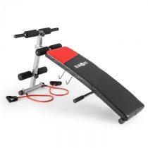 Klarfit Hiup Situp-Bank posilňovačbrušného svalstva, expander, sklápacia lavička, syntetická koža, č...