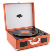 Auna Peggy Sue OR prenosný retro gramofón, CD USB SD, oranžová farba