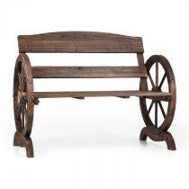 Blumfeldt Ammergau, záhradná lavica, drevená, kolesá voza, 108 x 65 x 86 cm, jedľové opaľované drevo