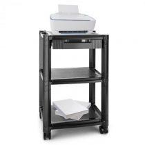 Auna P-Stand, čierny, kolieskový stolík pod tlačiareň, zásuvka, tri úložné priečinky