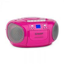 Auna BoomGirl Boom Box, ružový, boombox, prenosné rádio, CD/MP3 prehrávač, kazetový prehrávač