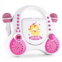 Auna Rockpocket-A WH detský karaoke systém CD AUX 2x mikrofón nabíjacia batéria biela farba
