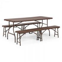 Blumfeldt Burgos, zostava záhradného nábytku, trojdielna, stôl + dve lavice, oceľ, HDPE, skladacia, ...