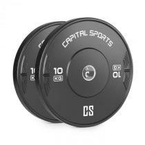 Capital Sports Elongate 10 Bumper Plate, činkový kotúč, guma, 2x10 kg