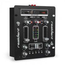 Resident DJ DJ-25 DJ-mixér mixážny pult, zosilňovač, bluetooth, USB, čierna/biela