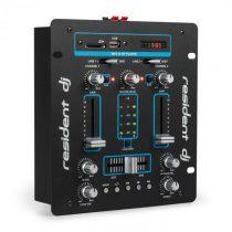 Resident DJ DJ-25 DJ-mixér mixážny pult, zosilňovač, bluetooth, USB, čierna/modrá