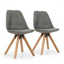 OneConcept Iseo stolička, 2-dielna sada, polstrovaná PP-konštrukcia, brezové drevo, sivá farba