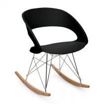 OneConcept Travolta hojdacia stolička, retro, PP-konštrukcia sedacej časti, brezové drevo, čierna fa...