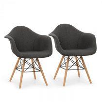 OneConcept Visconti stolička, 2-dielna sada, polstrovaná PP-konštrukcia sedacej časti, brezové drevo...