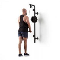 Klarfit Stronghold , posilňovacia kladka, montáž na stenu, 100 kg, 2,5 m kábel, tricepsová tyč, čier...