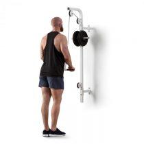 Klarfit Stronghold , posilňovacia kladka, montáž na stenu, 100 kg, 2,5 m kábel, tricepsová tyč, biel...