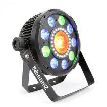 Beamz BX96 PAR 9x9W 6v1, RGBW-UV LEDky, 24xSMD-LEDky, COB technológia, diaľkové ovládanie