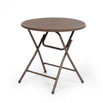 Blumfeldt Burgos Round, skladací stôl, polyratan, 80 cm Ø plocha stola, 4 osoby, hnedý