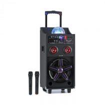 Auna DisGo Box 100, prenosný PA systém, 50 W RMS, BT, SD slot, LED diódy, USB, akumulátor, čierny