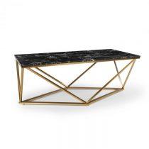 Besoa Black Onyx I, konferenčný stolík, 110 x 42,5 x 55 cm (Š x V x H), mramorový vzhľad, zlatý/čier...