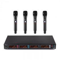 Power Dynamics PD504B, sada UHF bezdrôtových mikrofónov, 4 x headset + vreckový vysielač, 4 x 50 kan...