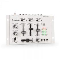 Auna TMX-2211, MKII, DJ-Mixer, 3/2 kanálov, crossfader, talkover, montáž na rack, biely