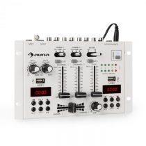 Auna DJ-22BT, MKII, mixér, 3/2 kanálový-DJ-mixážny pult, BT, 2xUSB, montáž na rack, biely