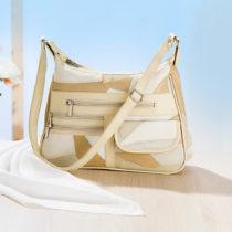 Blancheporte Patchworková kožená kabelka, biela-prírodná biela-prirodná
