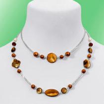 Blancheporte Dvojradový náhrdelník, jantárová jantárová