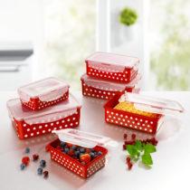 Blancheporte 12-dielna súprava dóz na uchovanie potravín, červená-biela červená-biela